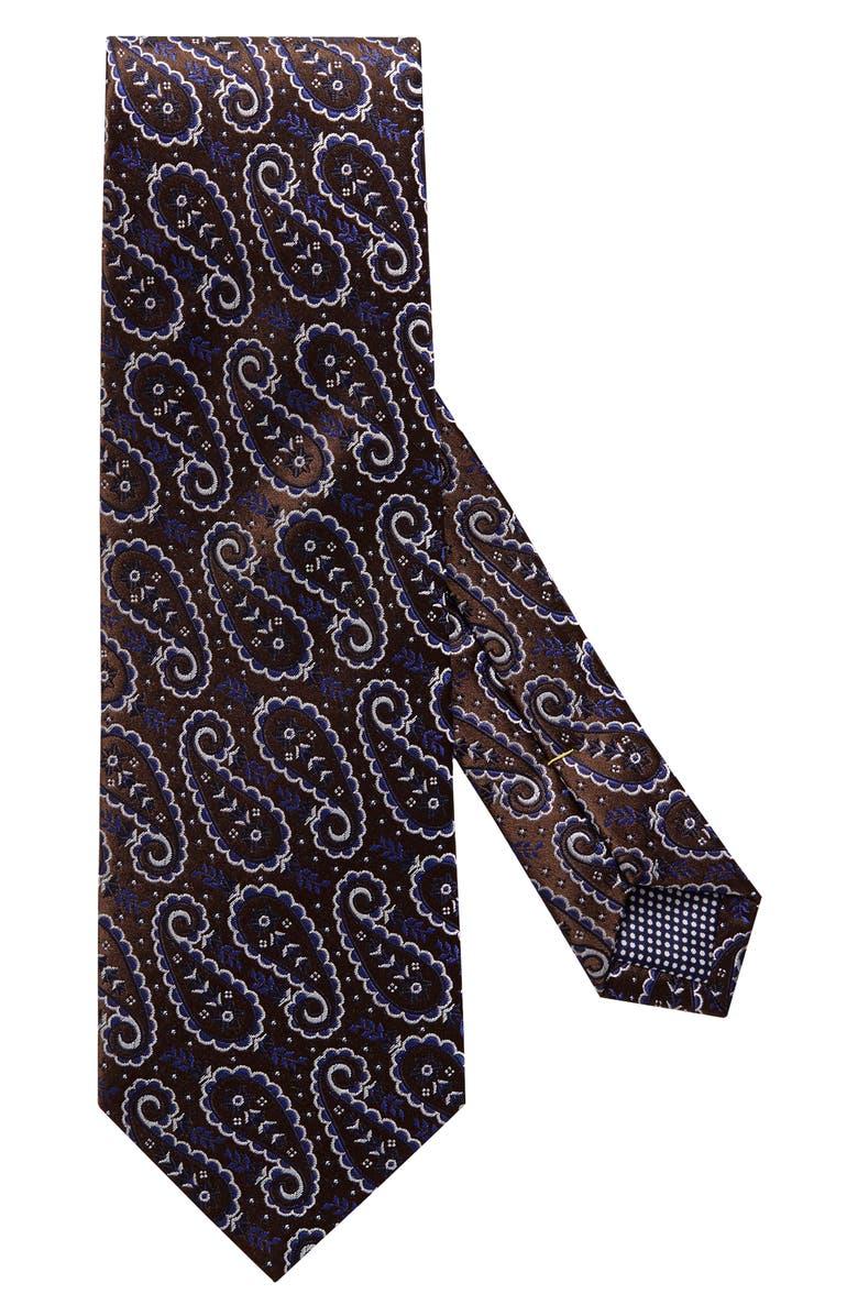 ETON Paisley Silk Tie, Main, color, OFFWHITE/ BROWN