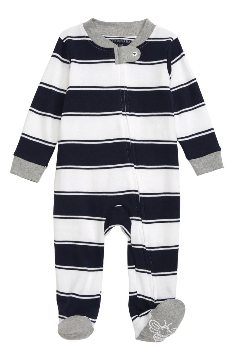 BURT'S BEES Stripe Organic Cotton Footie, Main, color, MIDNIGHT