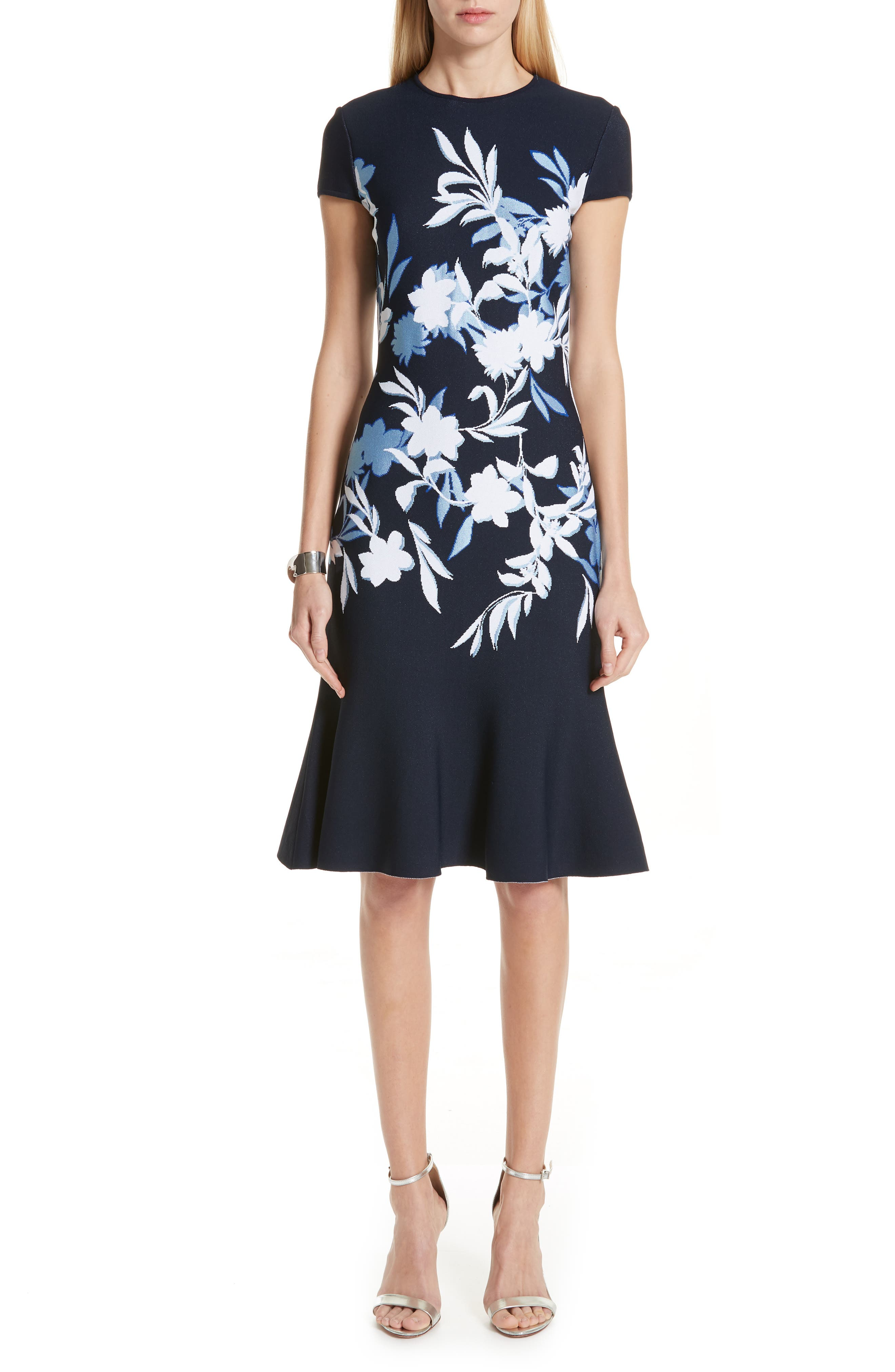 St. John Collection Shadow Floral Jacquard Knit Dress, White