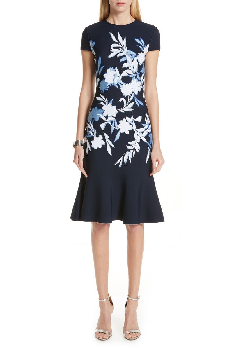 ST. JOHN COLLECTION Shadow Floral Jacquard Knit Dress, Main, color, 100