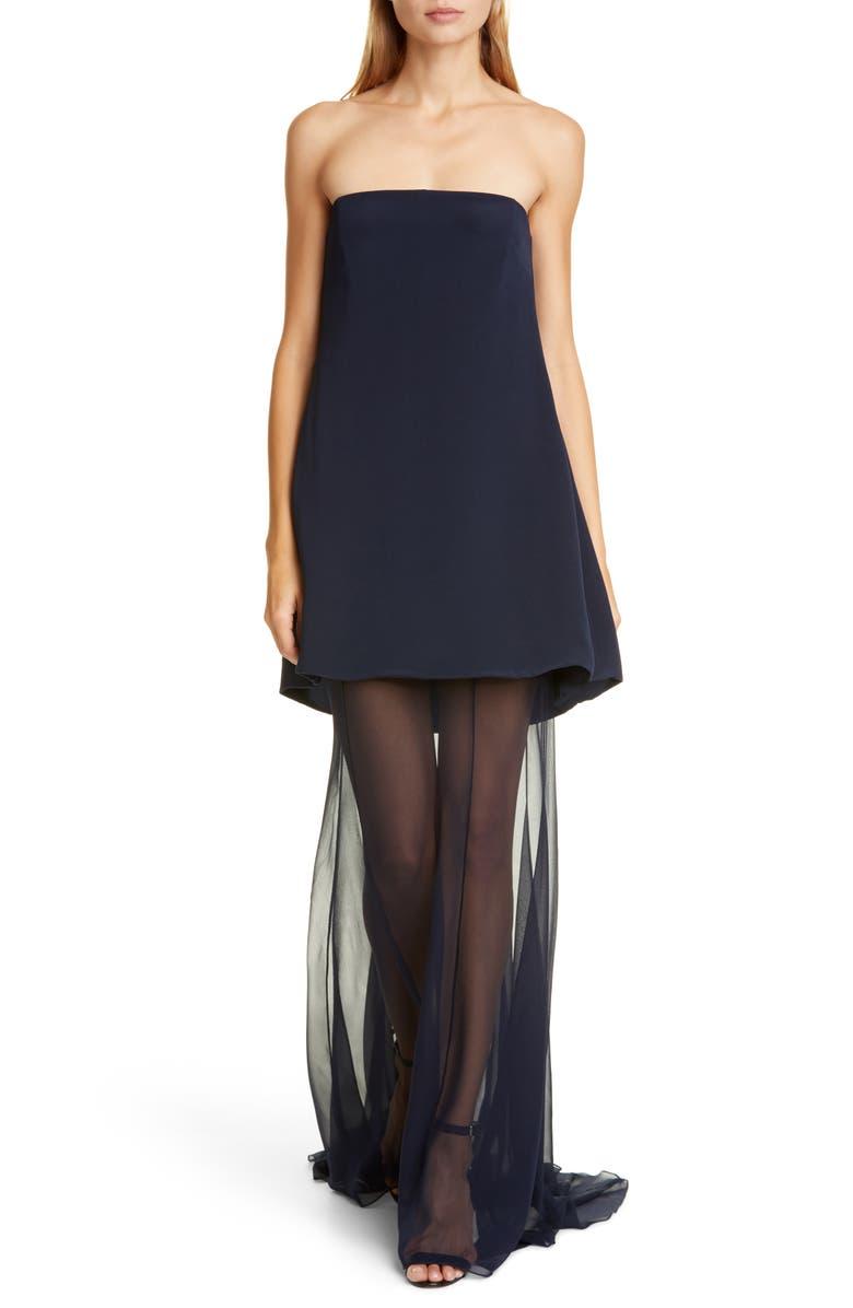 CUSHNIE Chiffon Hem Strapless Silk Dress, Main, color, NAVY