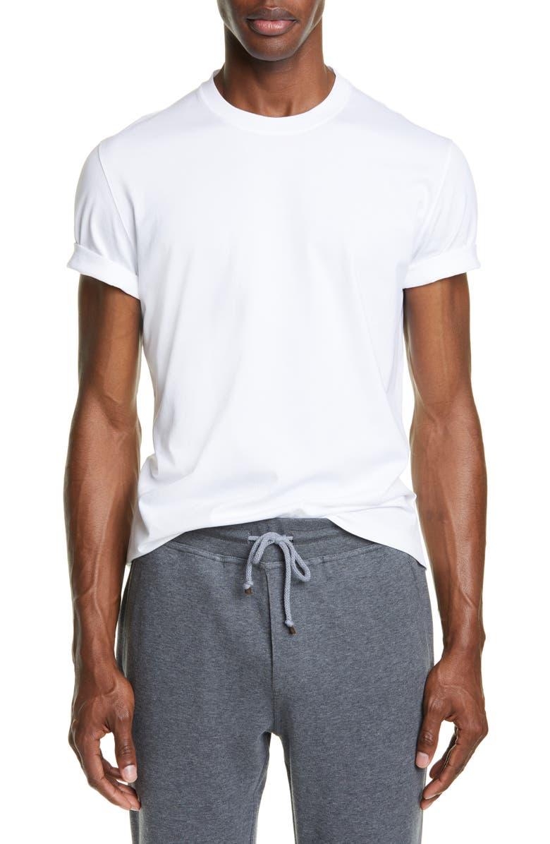 BRUNELLO CUCINELLI Cotton Crewneck T-Shirt, Main, color, WHITE