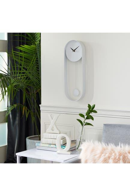 "Image of COSMO BY COSMOPOLITAN Oval White Metal Pendulum Wall Clock - 20"" X 7.5"""
