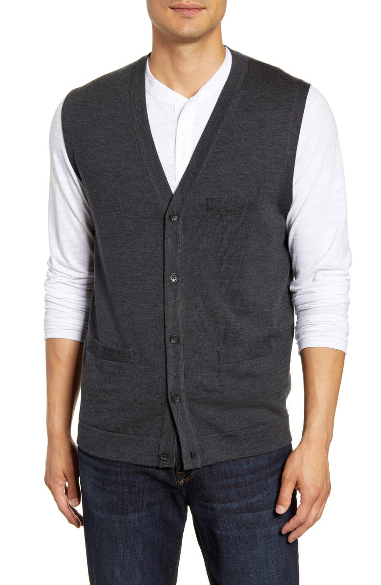 NORDSTROM MEN'S SHOP Merino Button Front Sweater Vest, Main, color, GREY PHANTOM HEATHER