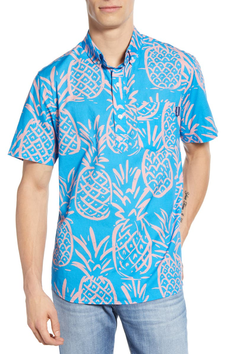 CHUBBIES The Fruit for the Home Team Short Sleeve Button-Down Popover Shirt, Main, color, BLUE PINEAPPLE