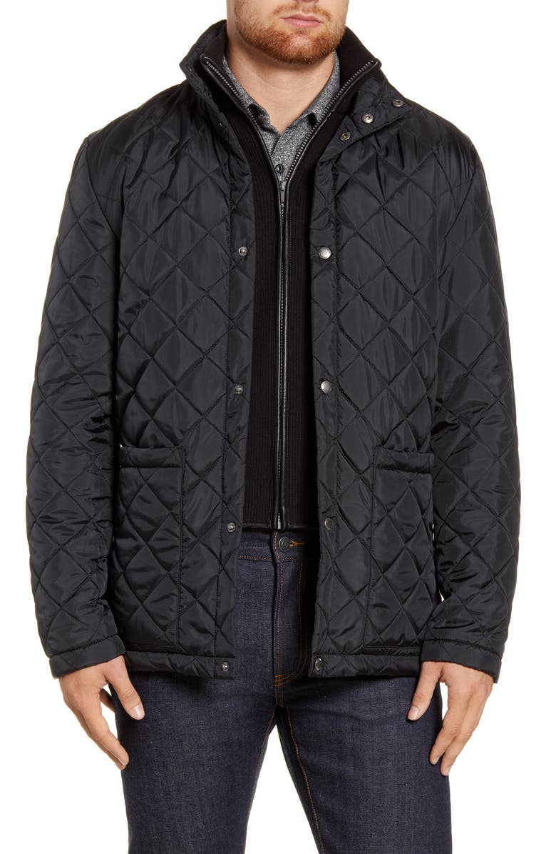 COLE HAAN Signature Quilted Jacket with Knit Bib, Main, color, BLACK