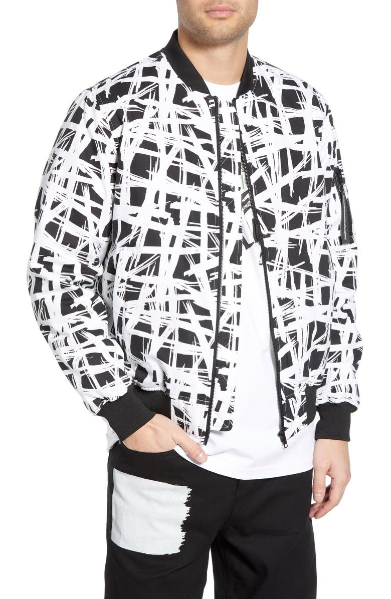 WESC Abstract Print Bomber Jacket, Main, color, 001