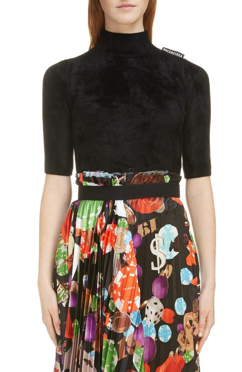 BALENCIAGA Velvet Mock Neck Sweater, Main, color, 1000-BLACK