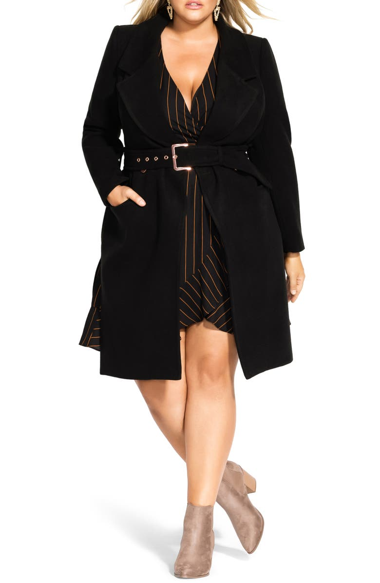 CITY CHIC Regal Coat, Main, color, BLACK