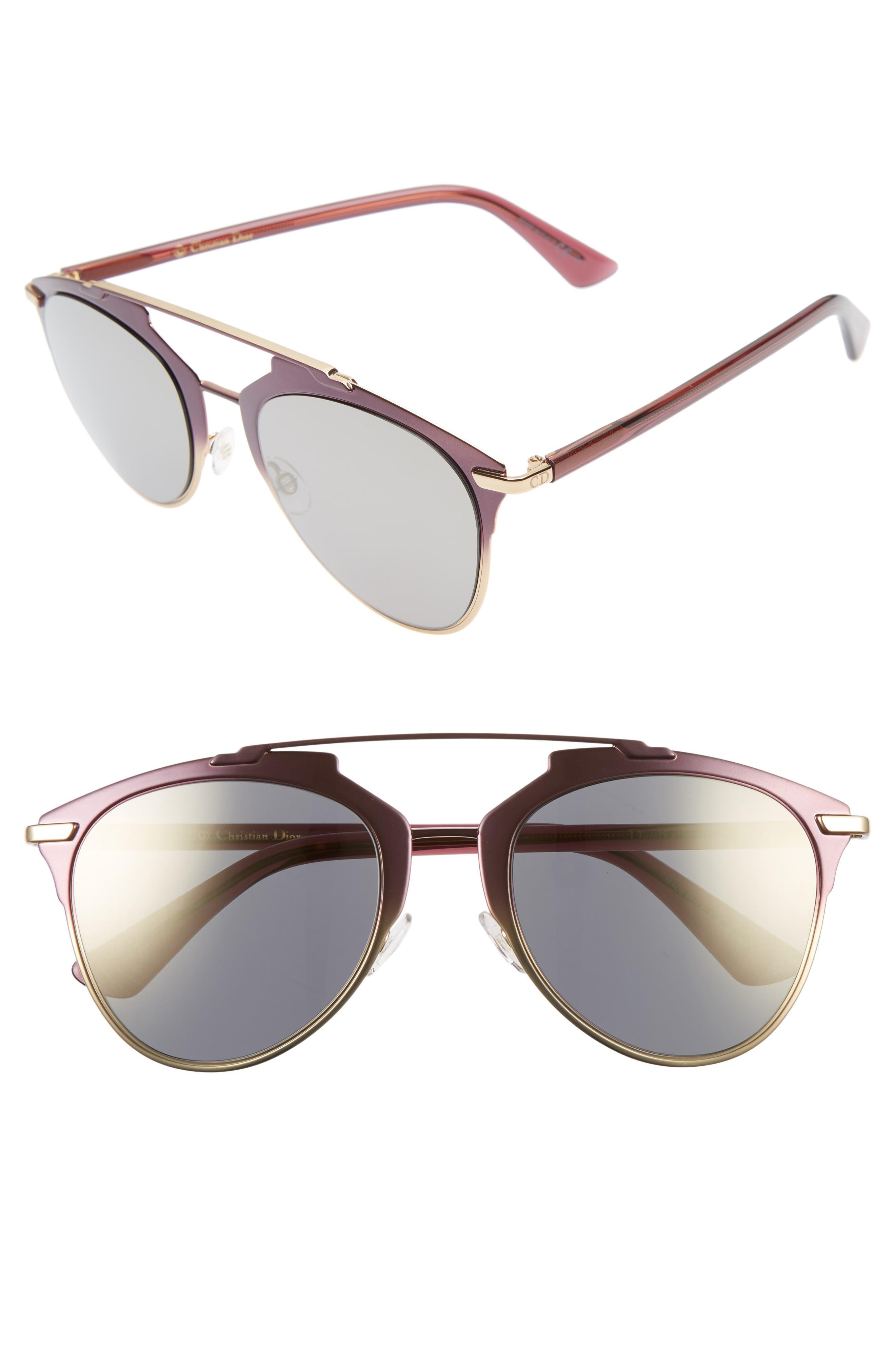 ,                             Reflected 52mm Brow Bar Sunglasses,                             Main thumbnail 27, color,                             653