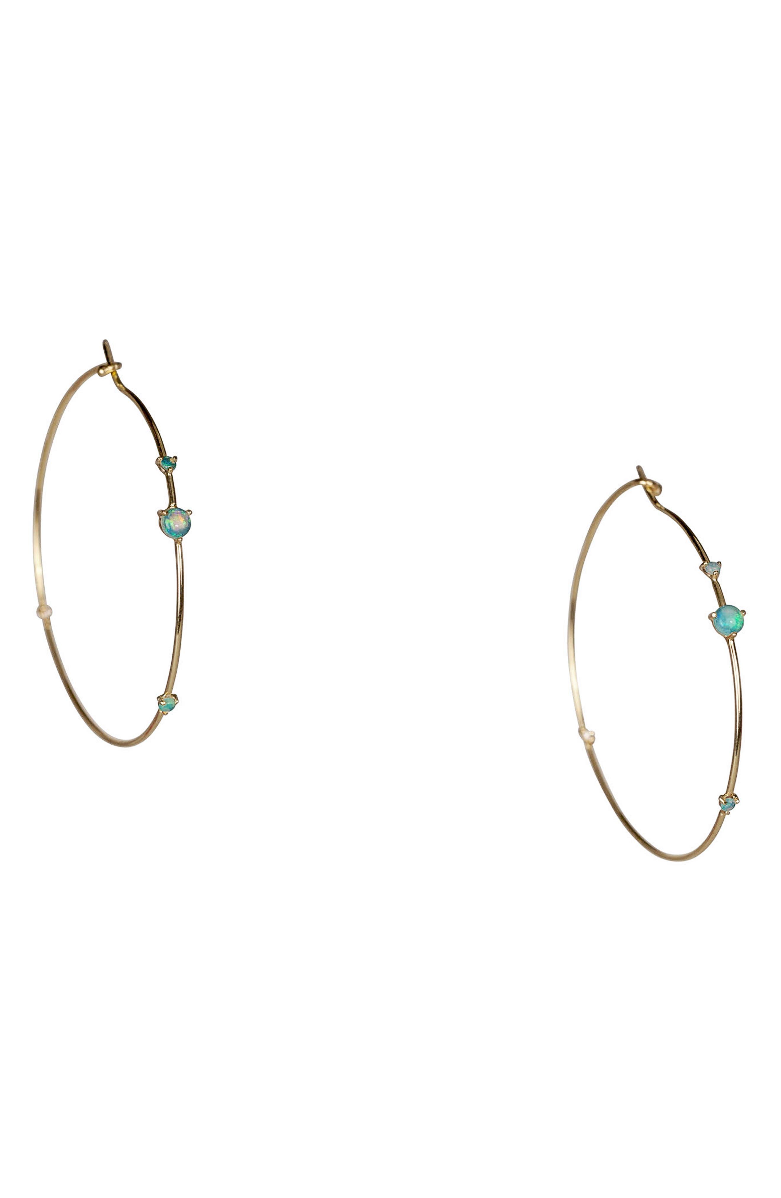 ,                             Four-Step Opal & Diamond Hoop Earrings,                             Main thumbnail 1, color,                             OPAL AND WHITE DIAMOND
