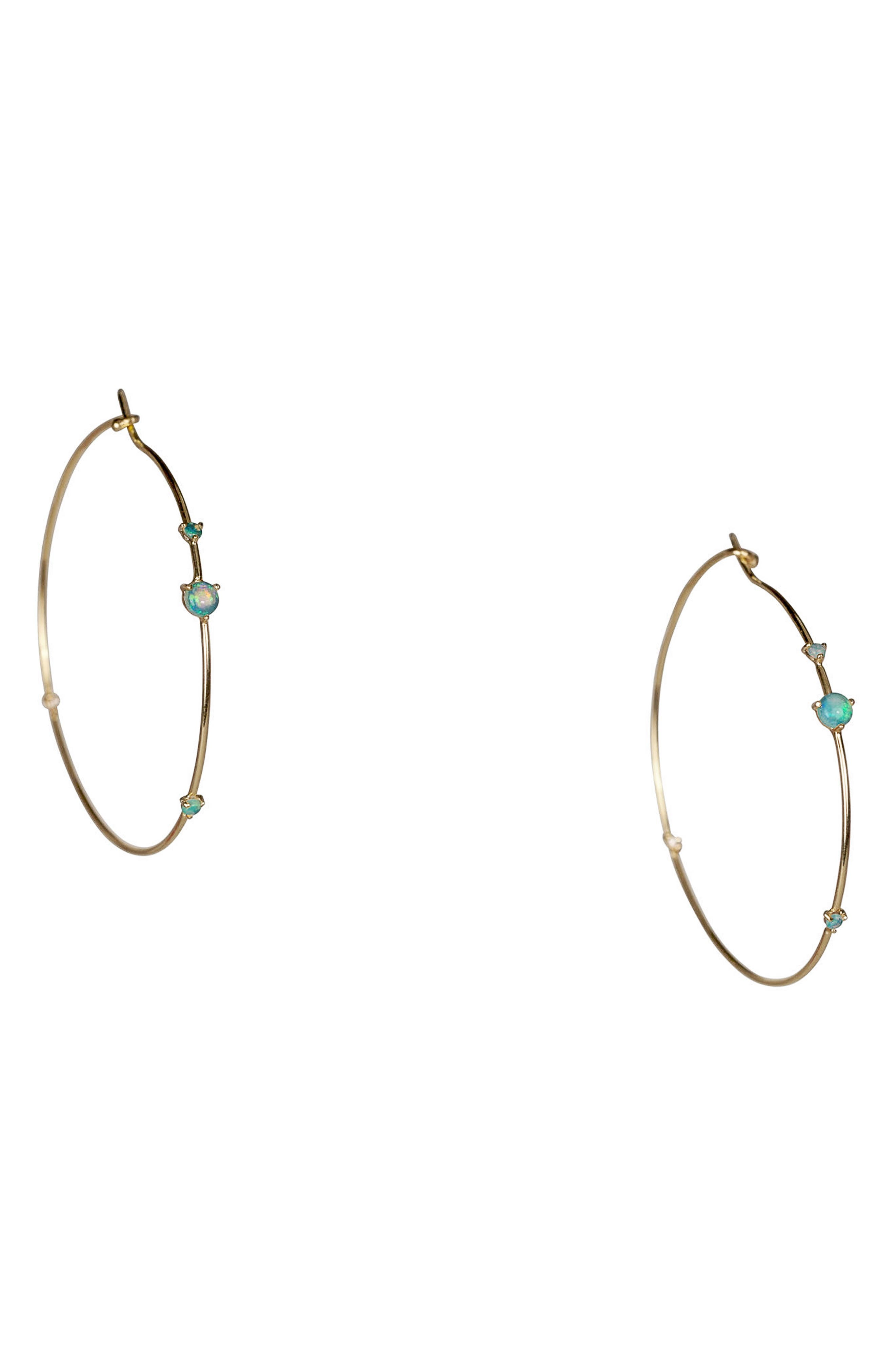 Four-Step Opal & Diamond Hoop Earrings, Main, color, OPAL AND WHITE DIAMOND