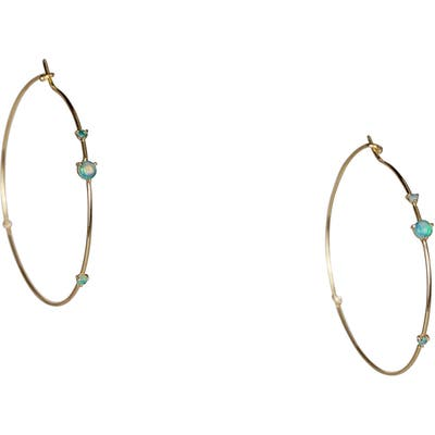 Wwake Four-Step Opal & Diamond Hoop Earrings