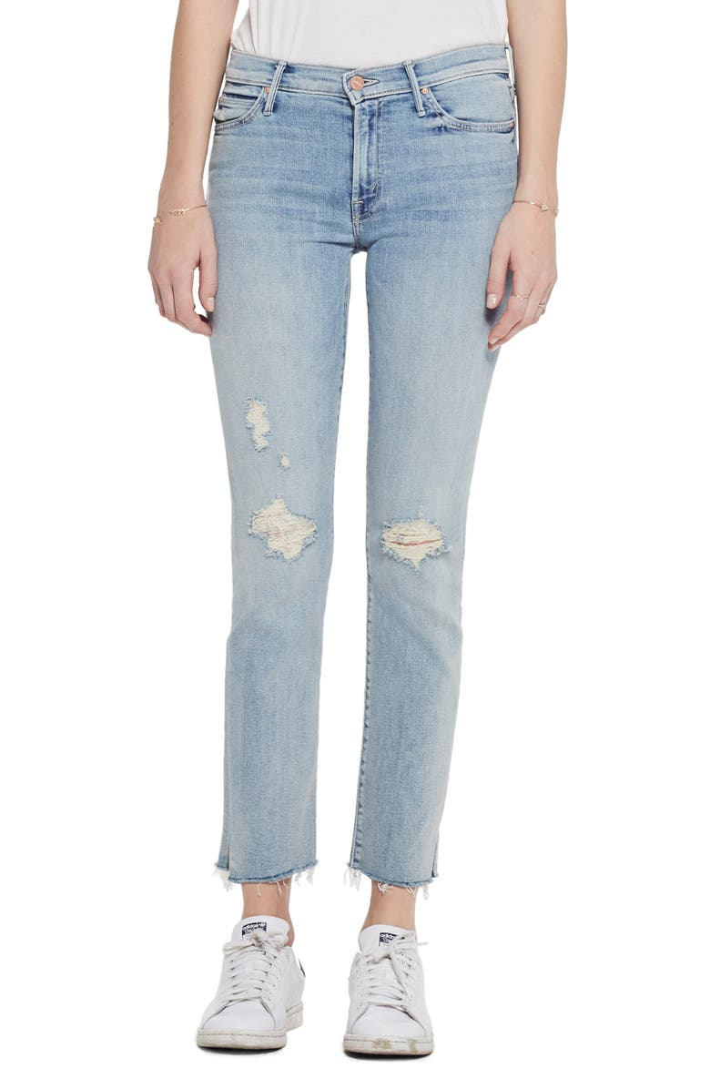 MOTHER The Rascal Snippet Ripped Ankle Straight Leg Jeans, Main, color, 450
