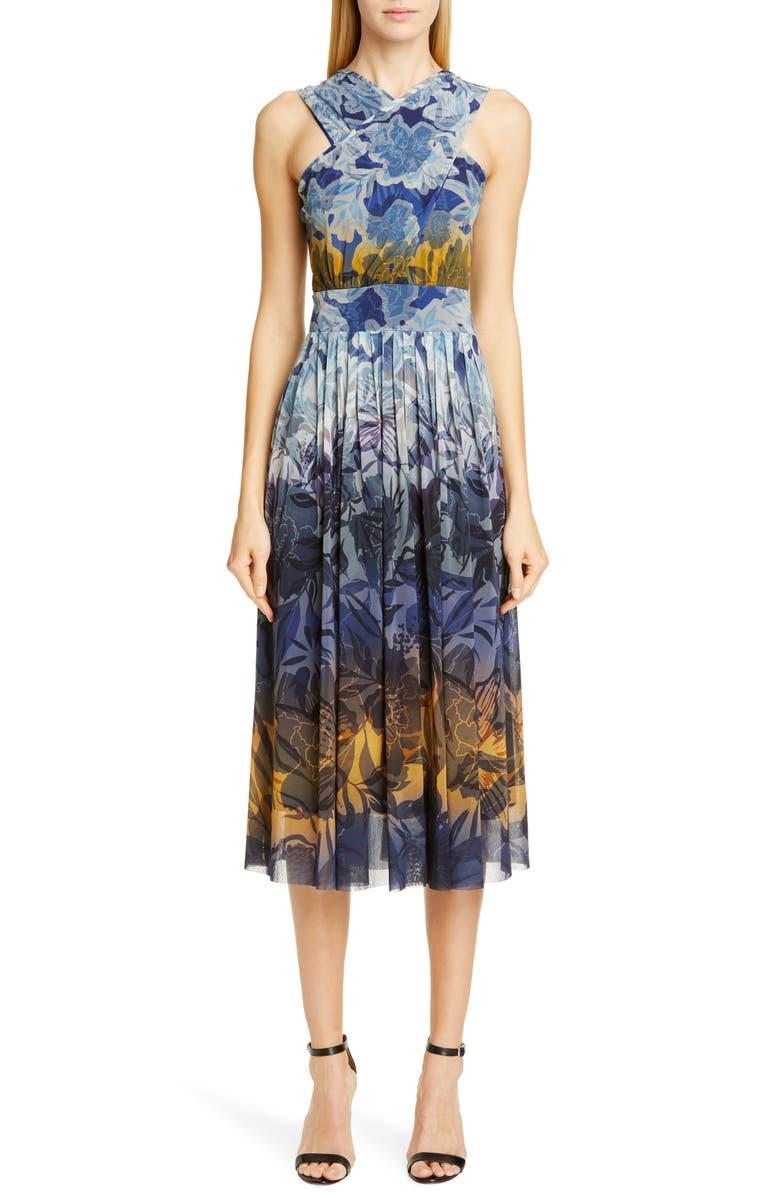 FUZZI Dégradé Floral Mesh Midi Dress, Main, color, AVIO