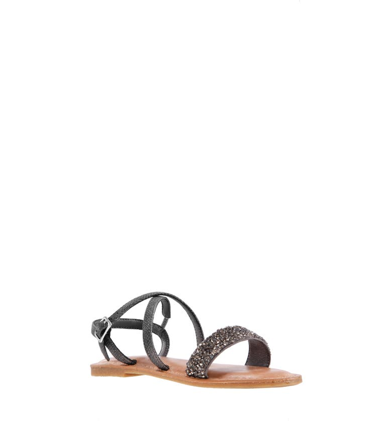 NINA Prue Metallic Sandal, Main, color, PEWTER EMBOSSED