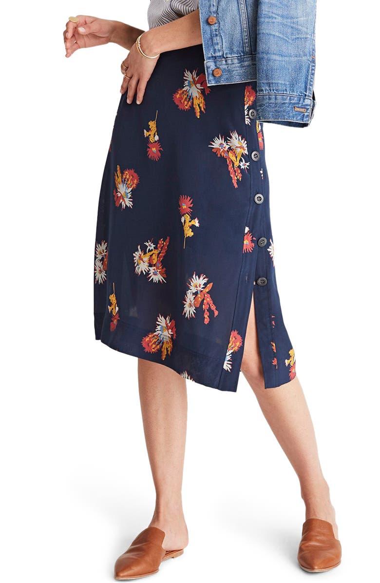 819292e467fe Madewell Side Button Silk Skirt | Nordstrom