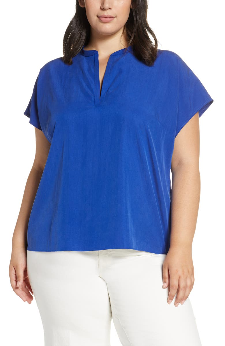 EILEEN FISHER Tencel<sup>®</sup> Lyocell Blend Mandarin Collar Top, Main, color, ROYAL