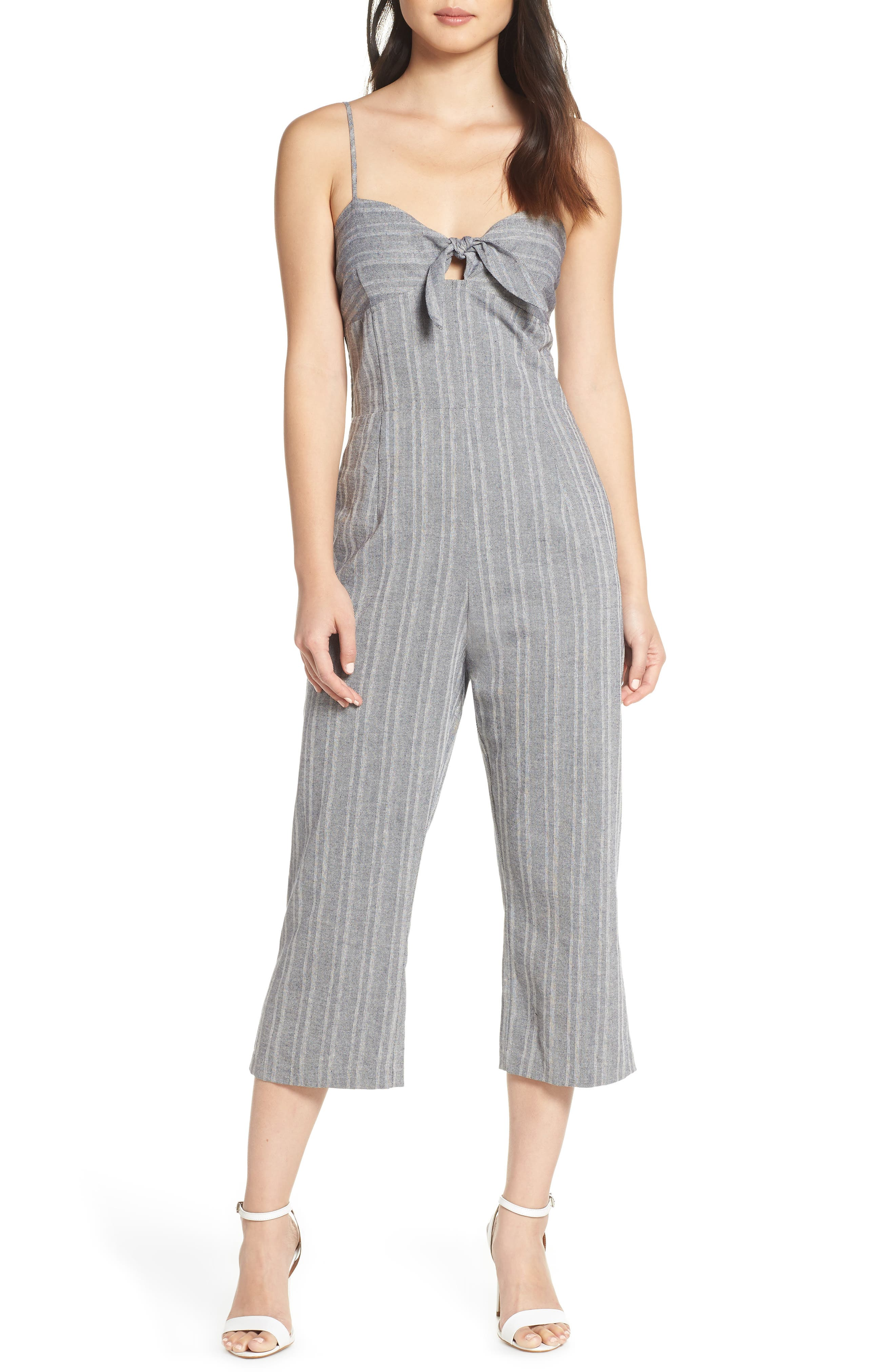 Image of Heartloom Liv Striped Crop Leg Jumpsuit