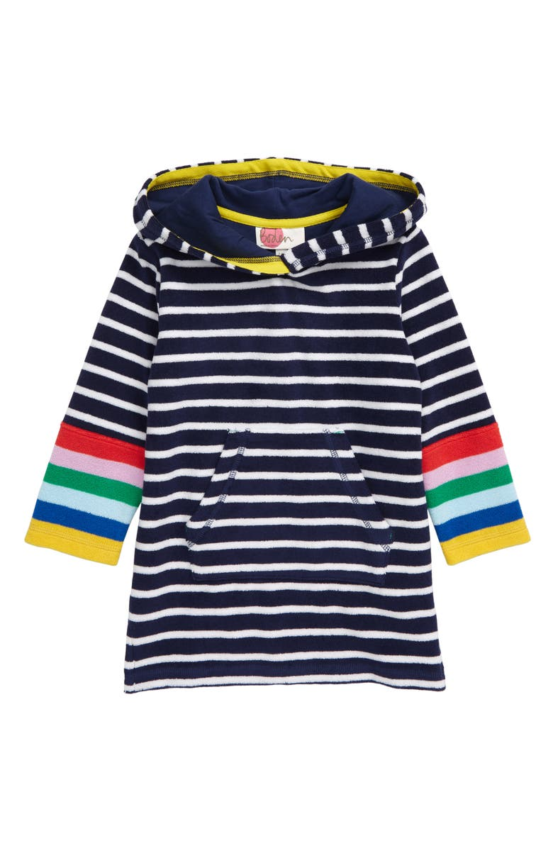 MINI BODEN Stripe Terry Cloth Throw-On Beach Cover-Up, Main, color, IVORY/NAVY RAINBOW STRIPE