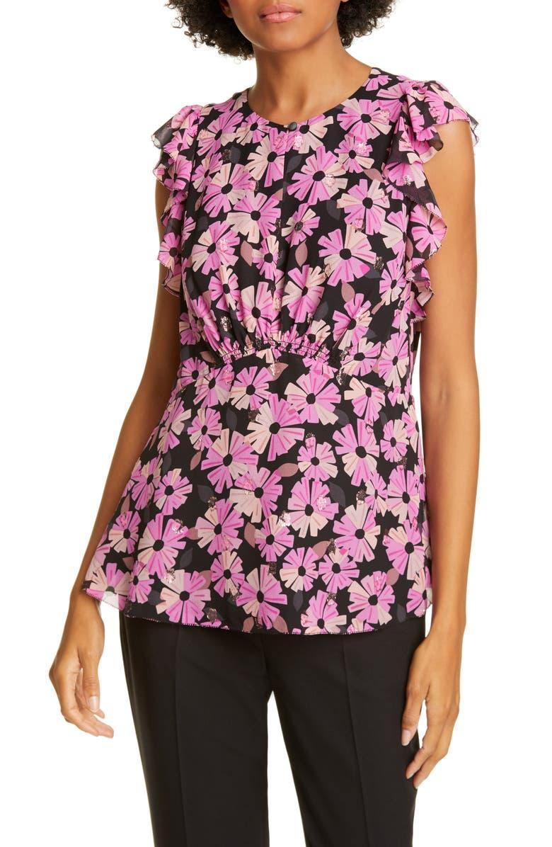 KATE SPADE NEW YORK wallflower metallic detail blouse, Main, color, BLACK