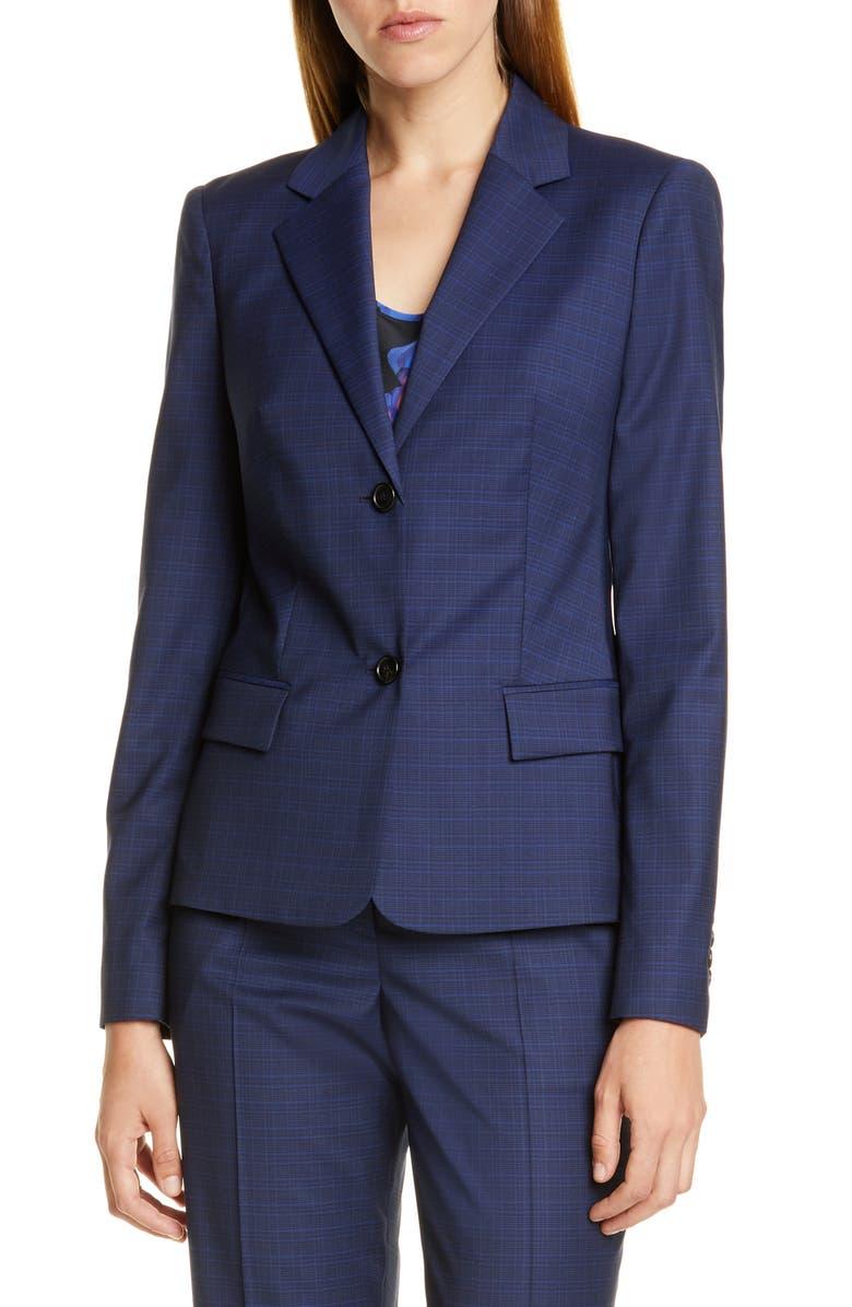 BOSS Jarana Rich Check Wool Suit Jacket, Main, color, NAVY FANTASY