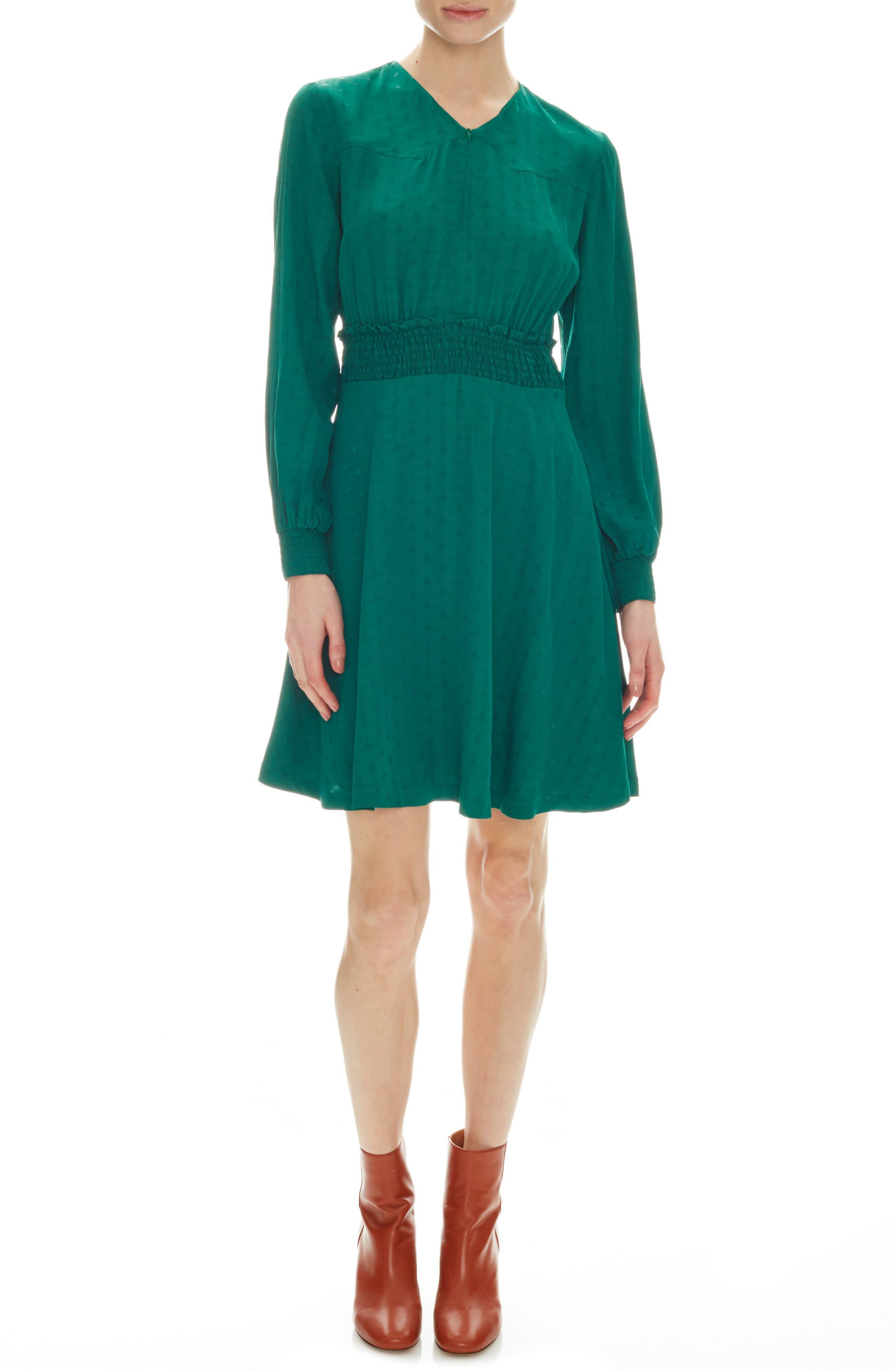 Sandro Claudia Long Sleeve Dress, 6 FR - Green
