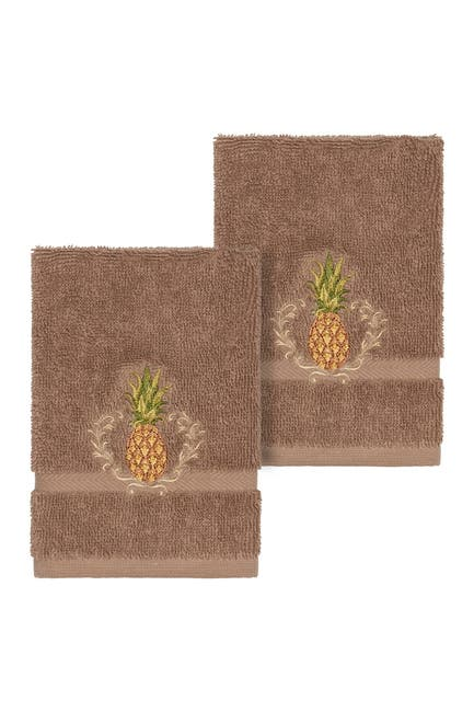 Image of LINUM HOME Welcome Embellished Washcloth - Set of 2 - Latte