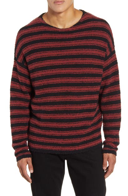 Allsaints Rivven Stripe Crewneck Sweater In Barn Red/ Black