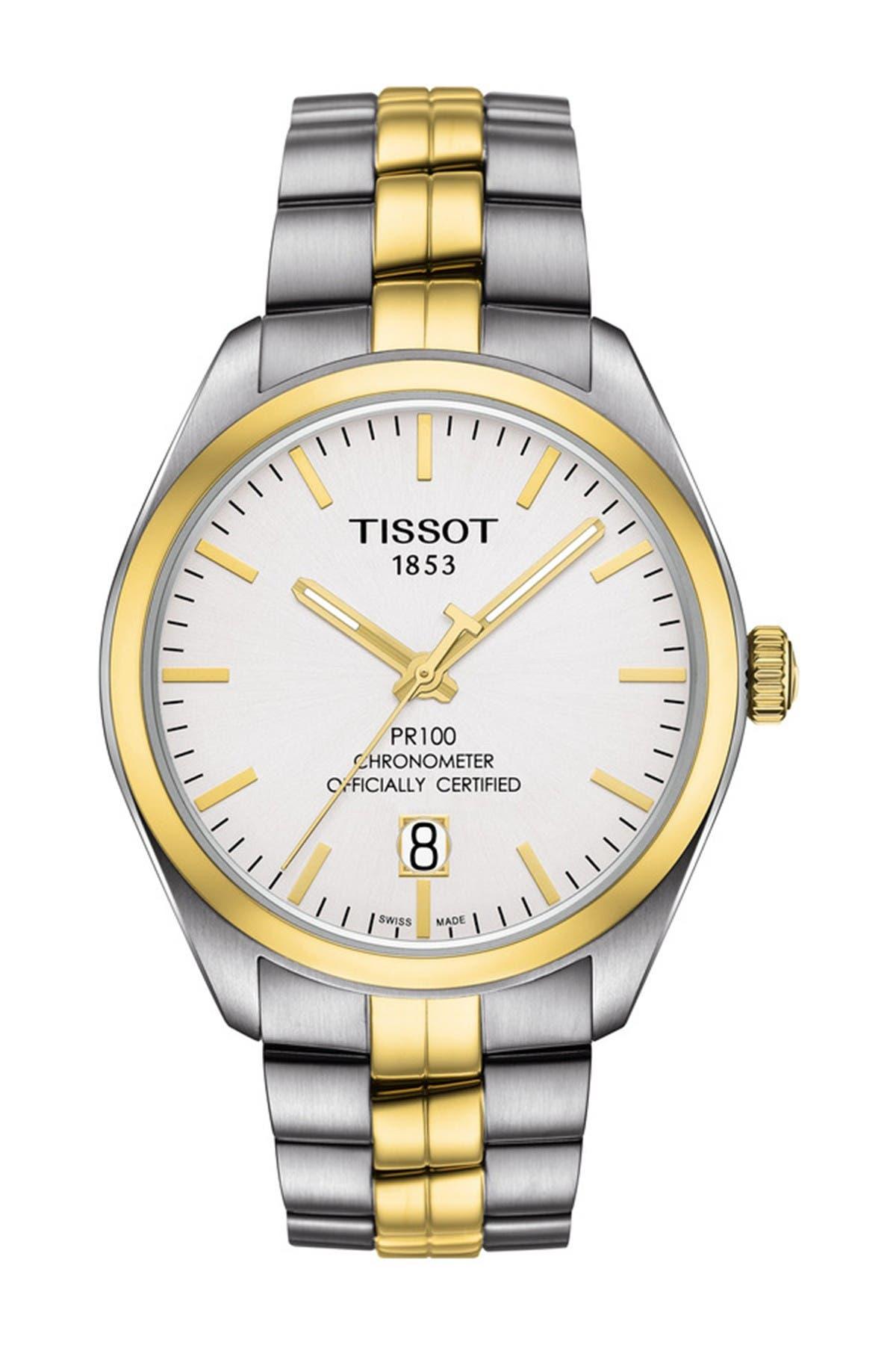 Image of Tissot Men's PR 100 Powermatic 80 COSC Bracelet Watch, 39mm