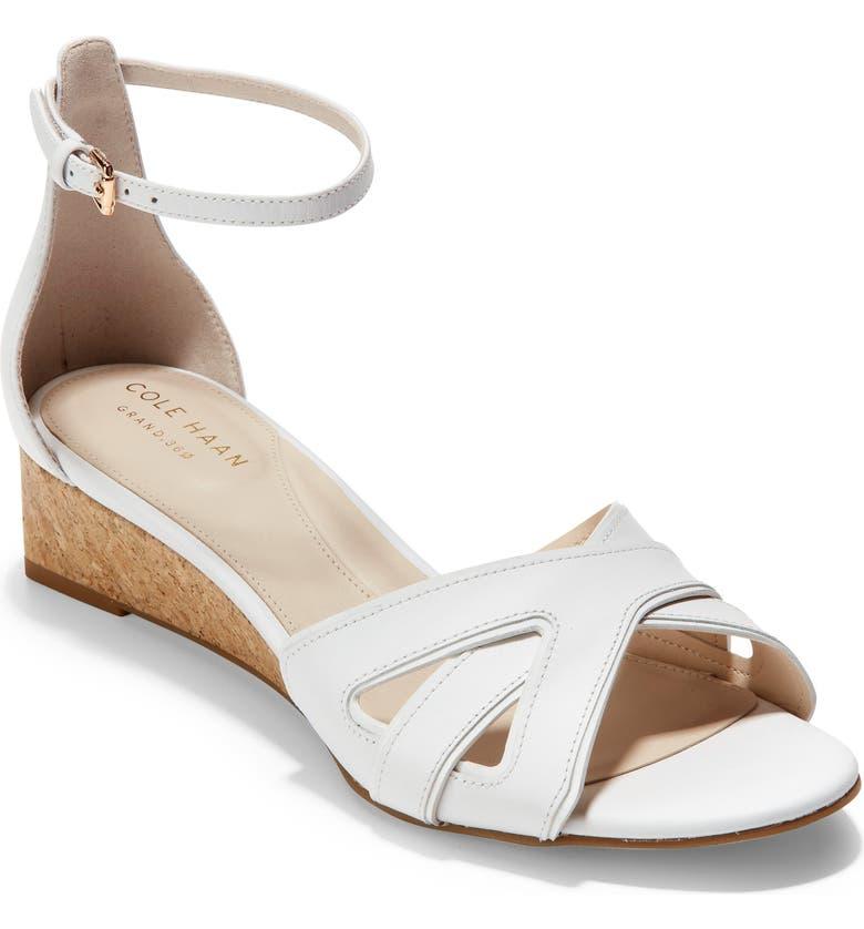 COLE HAAN Hana Grand Wedge Sandal, Main, color, OPTIC WHITE LEATHER