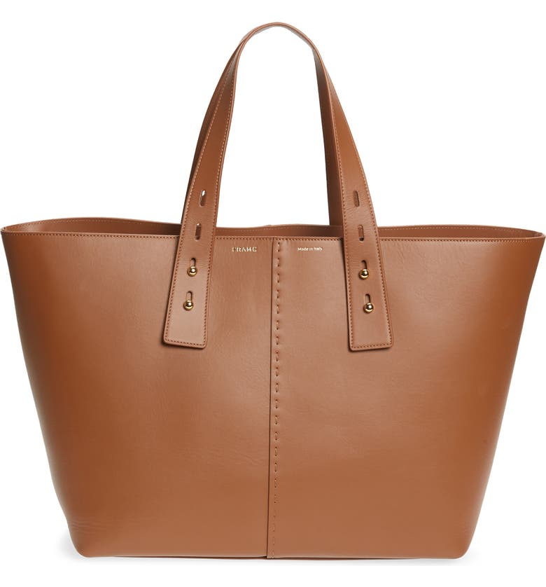 FRAME Les Second Large Tote, Main, color, TOBACCO
