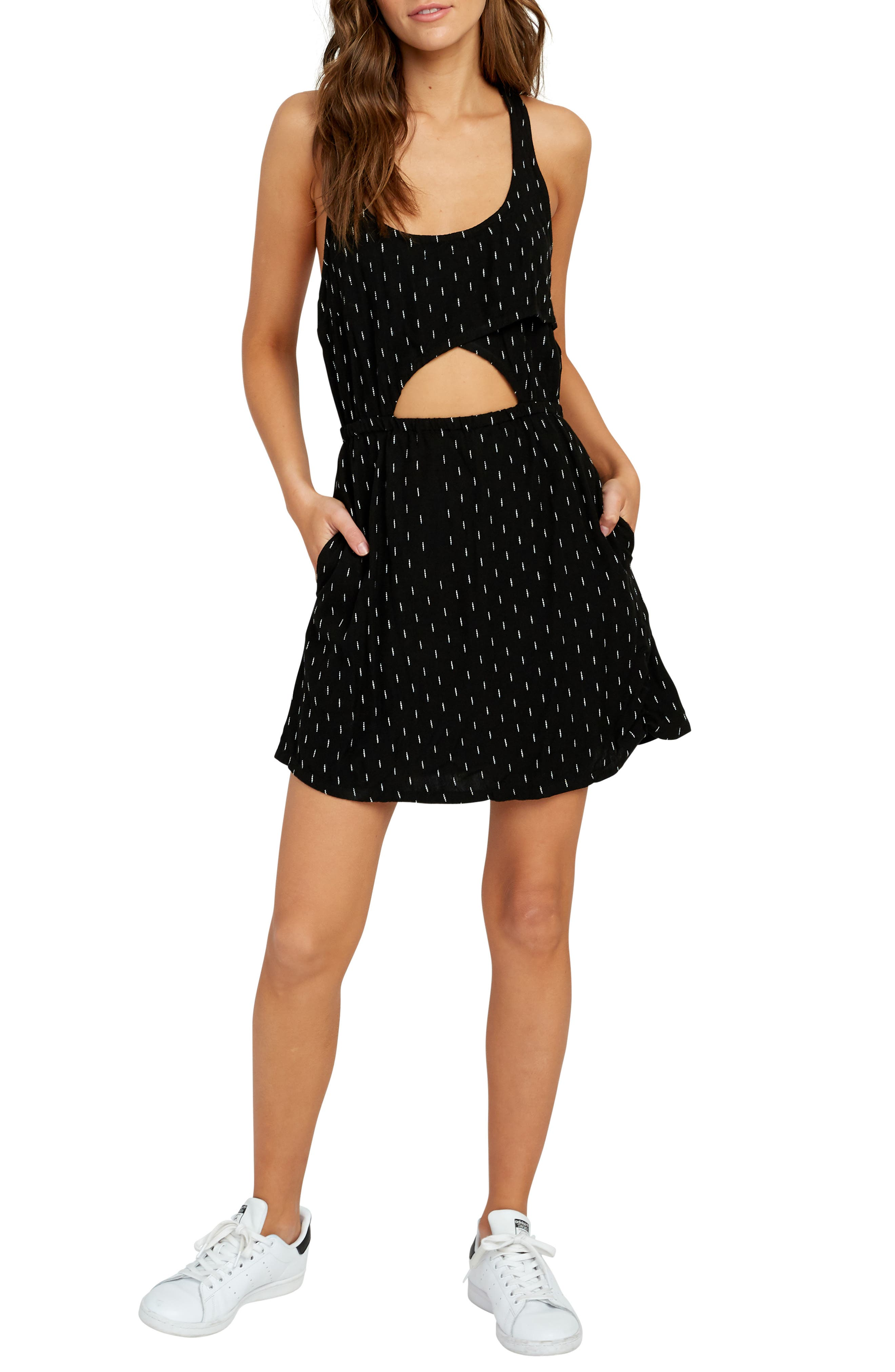 Rvca Pathway Cutout Waist Minidress, Black