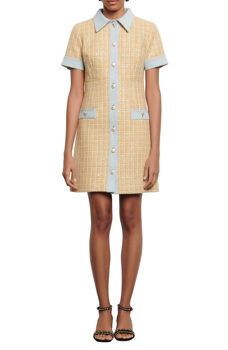 SANDRO Mella Tweed Minidress, Main, color, BEIGE