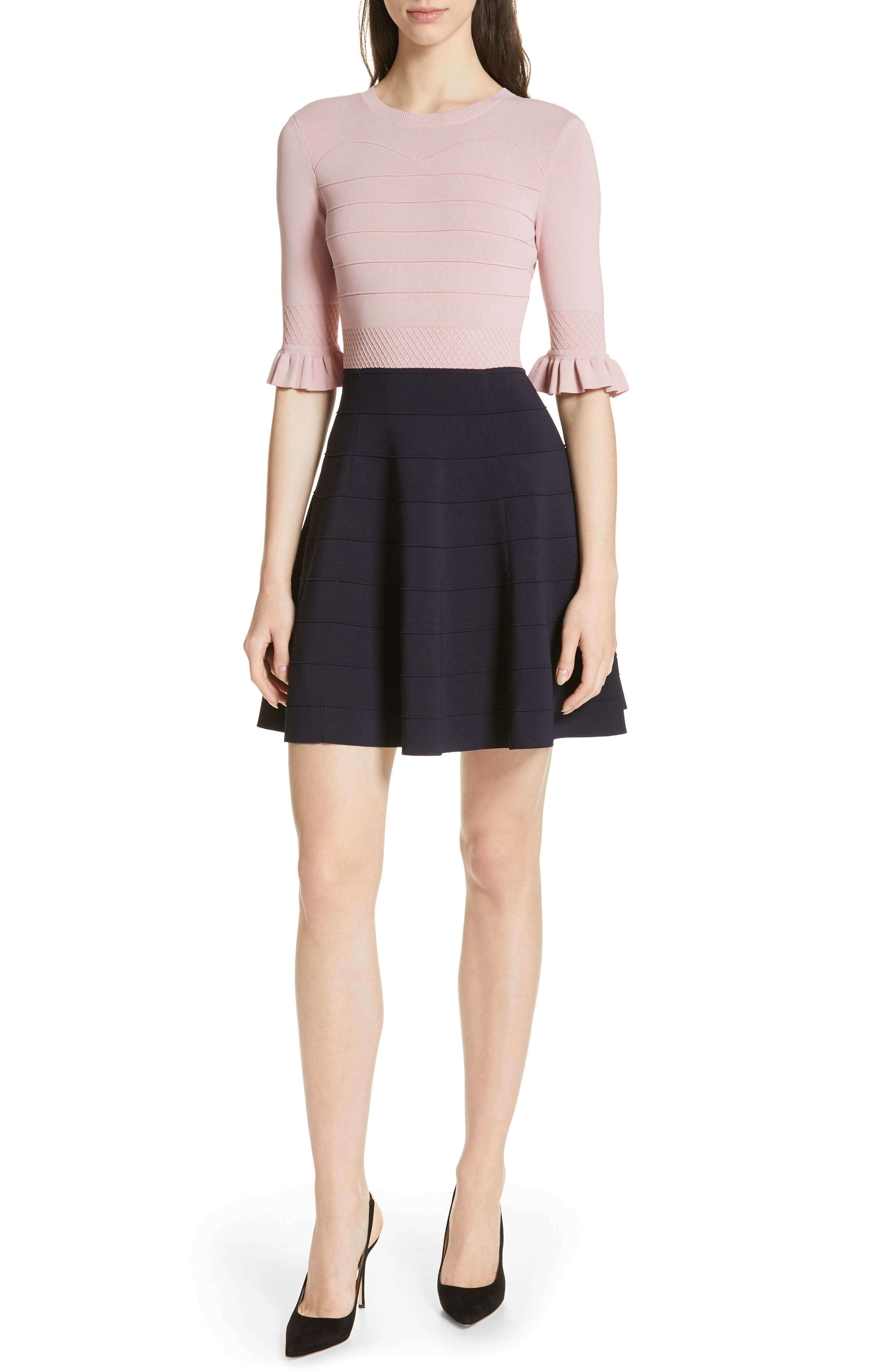 ,                             Dyana Frilled Knit Minidress,                             Main thumbnail 1, color,                             DUSKY PINK