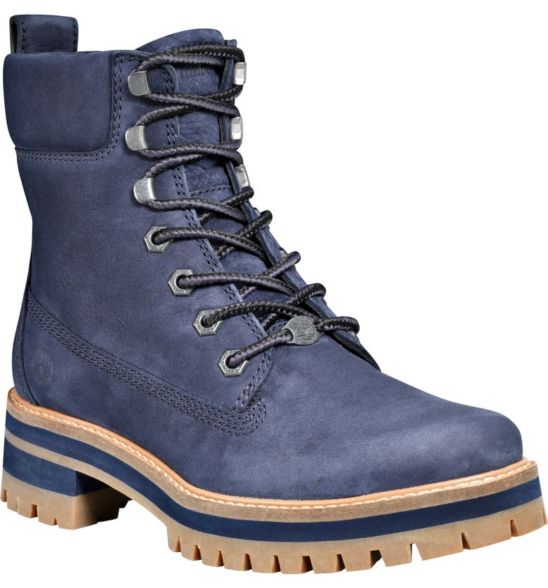 TIMBERLAND Courmayeur Valley Water Resistant Hiking Boot, Main, color, NAVY NUBUCK LEATHER