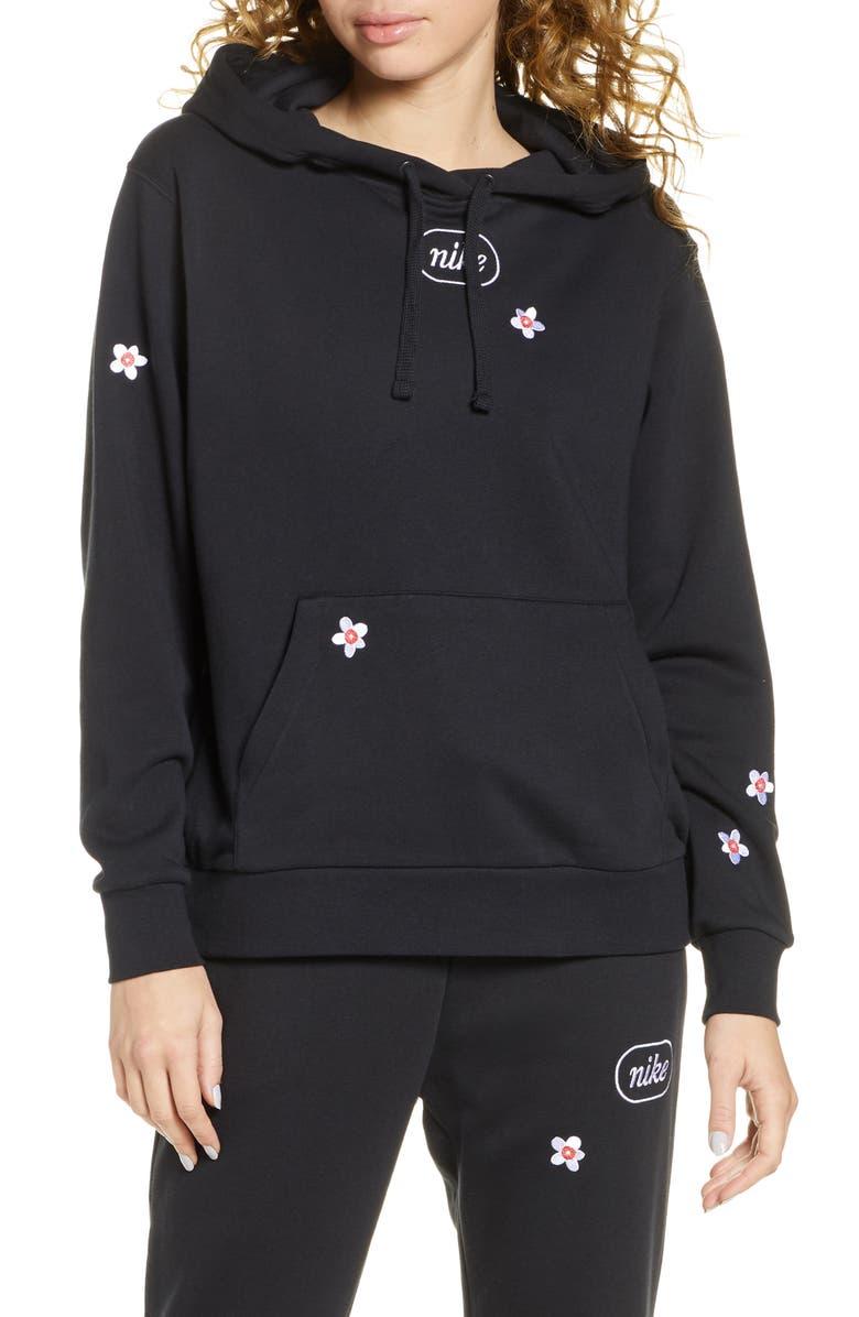 NIKE Sportswear Flora Embroidered Fleece Hoodie, Main, color, BLACK