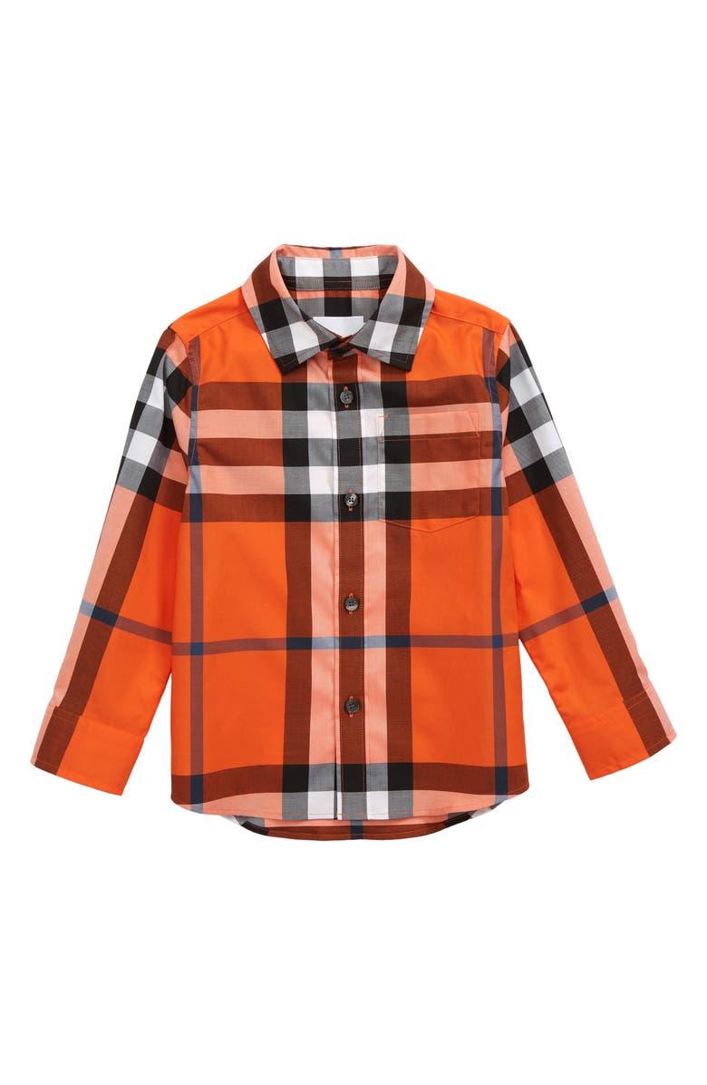 BURBERRY Kids' Owen Check Long Sleeve Button-Up Shirt, Main, color, NEON ORANGE