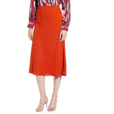 Halogen Bias Cut A-Line Midi Skirt, Brown