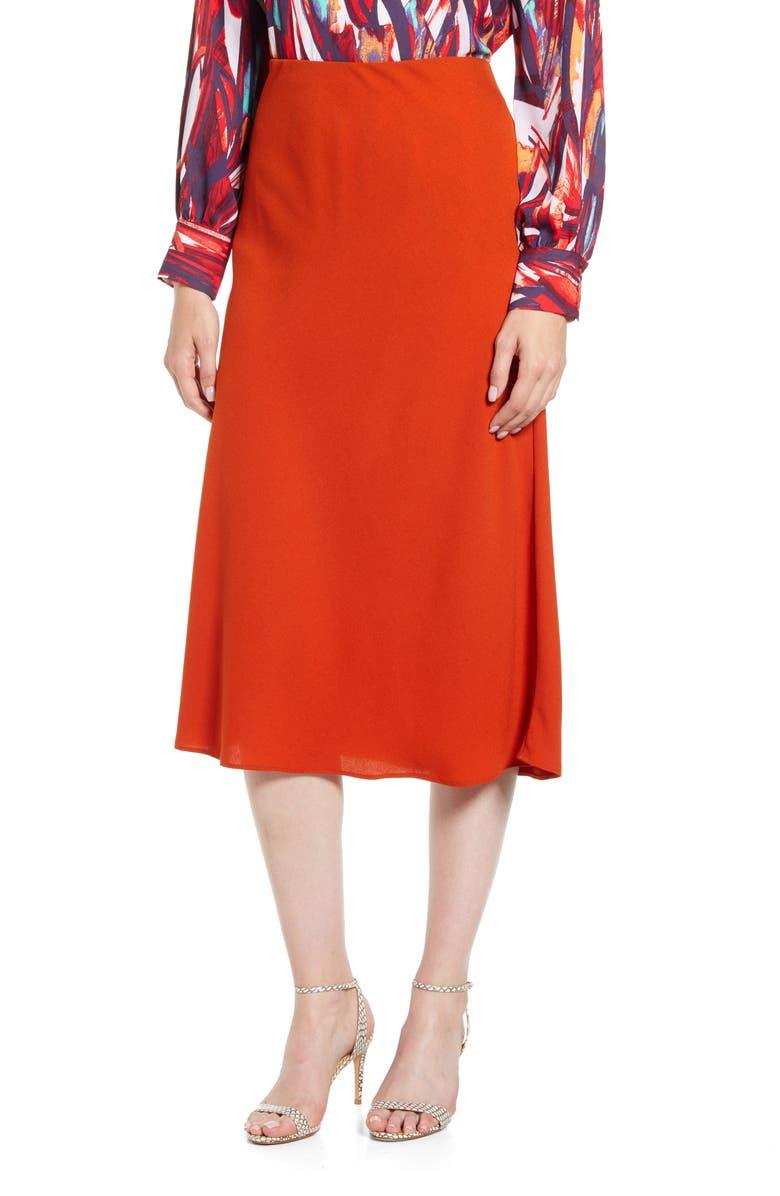 HALOGEN<SUP>®</SUP> Bias Cut A-Line Midi Skirt, Main, color, RUST ROOIBOS