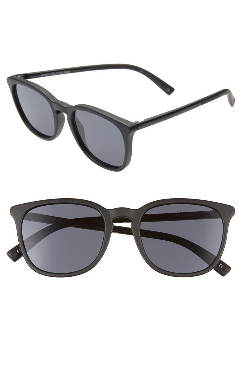 LE SPECS Rebeller 53mm Round Sunglasses, Main, color, MATTE BLACK/ SMOKE