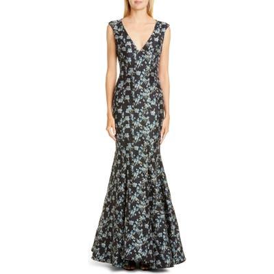 Zac Zac Posen Pilar Floral Gown, Blue