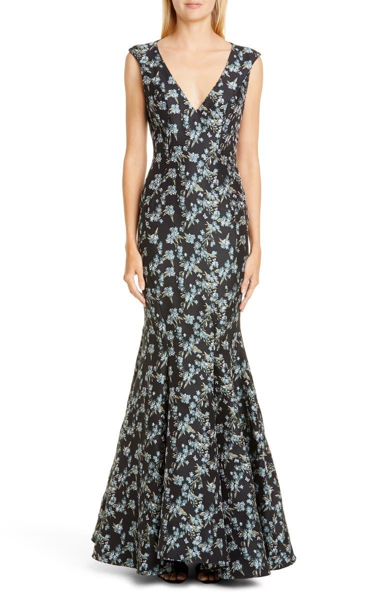ZAC ZAC POSEN Pilar Floral Gown, Main, color, BLACK/ POOL BLUE