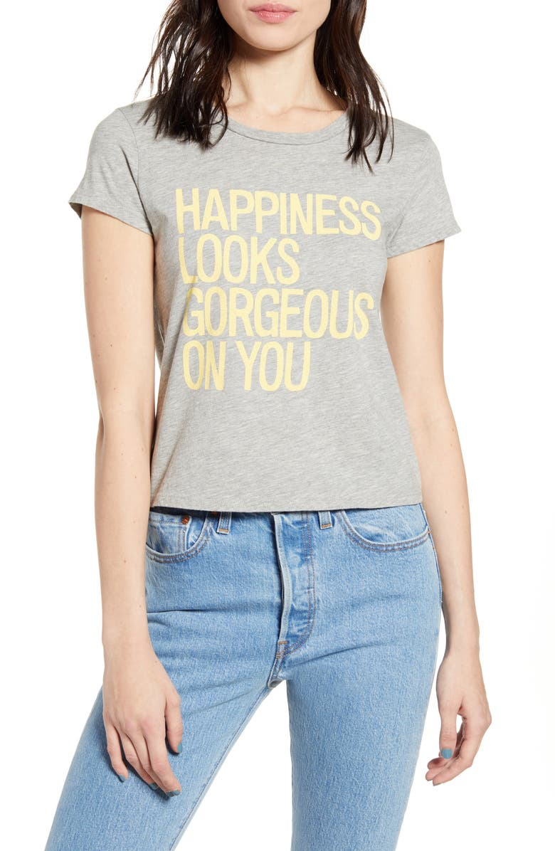 PST BY PROJECT SOCIAL T Happiness Graphic Tee, Main, color, HEATHER GREY