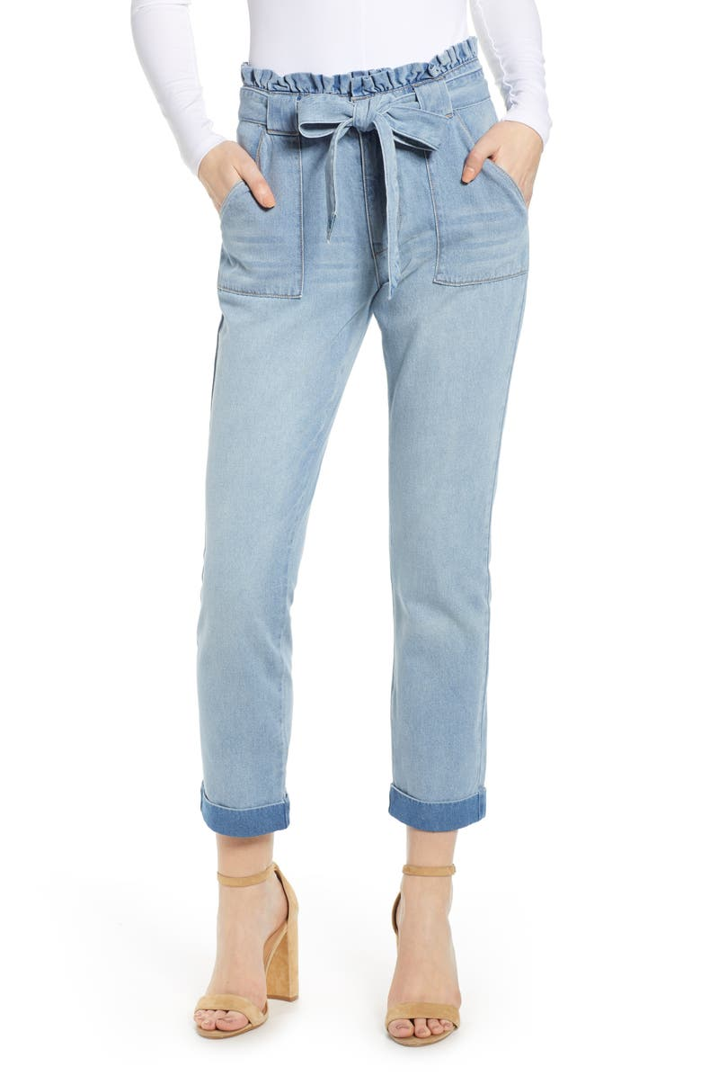 TINSEL Belted Paperbag Waist Jeans, Main, color, DANDY WASH