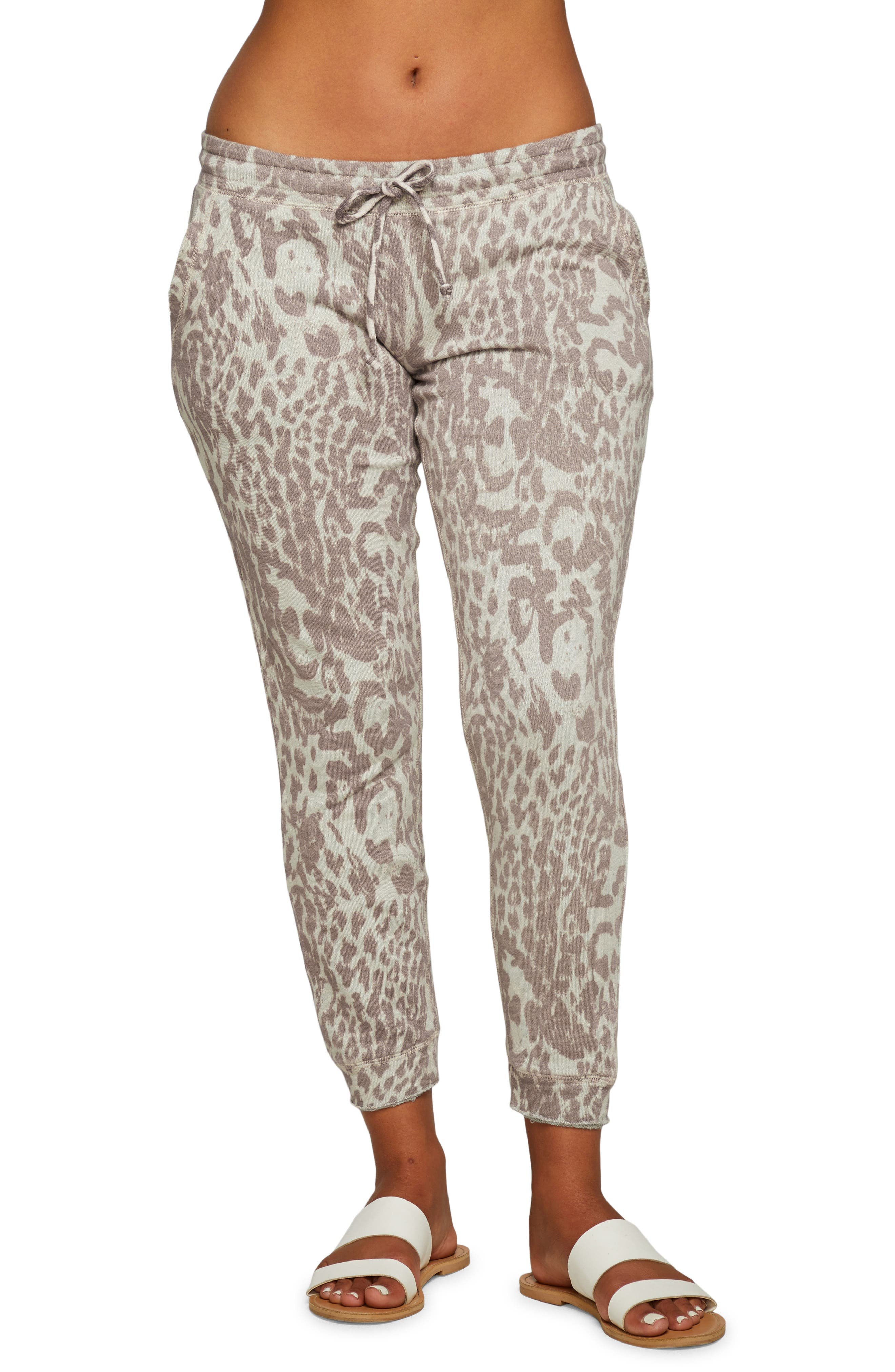 Animal Print Cotton & Linen French Terry Joggers