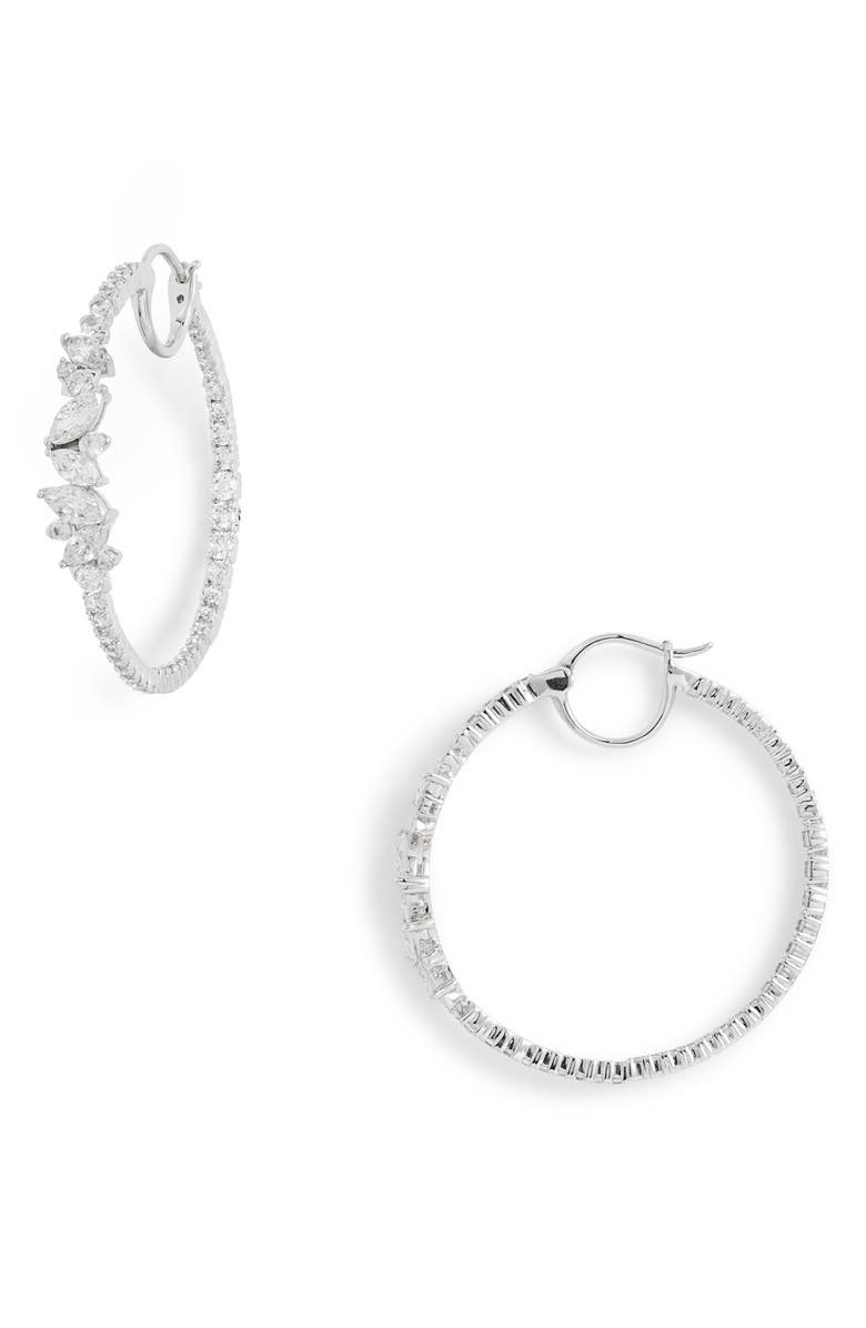 Tango Scattered Inside Out Hoop Earrings by Nadri