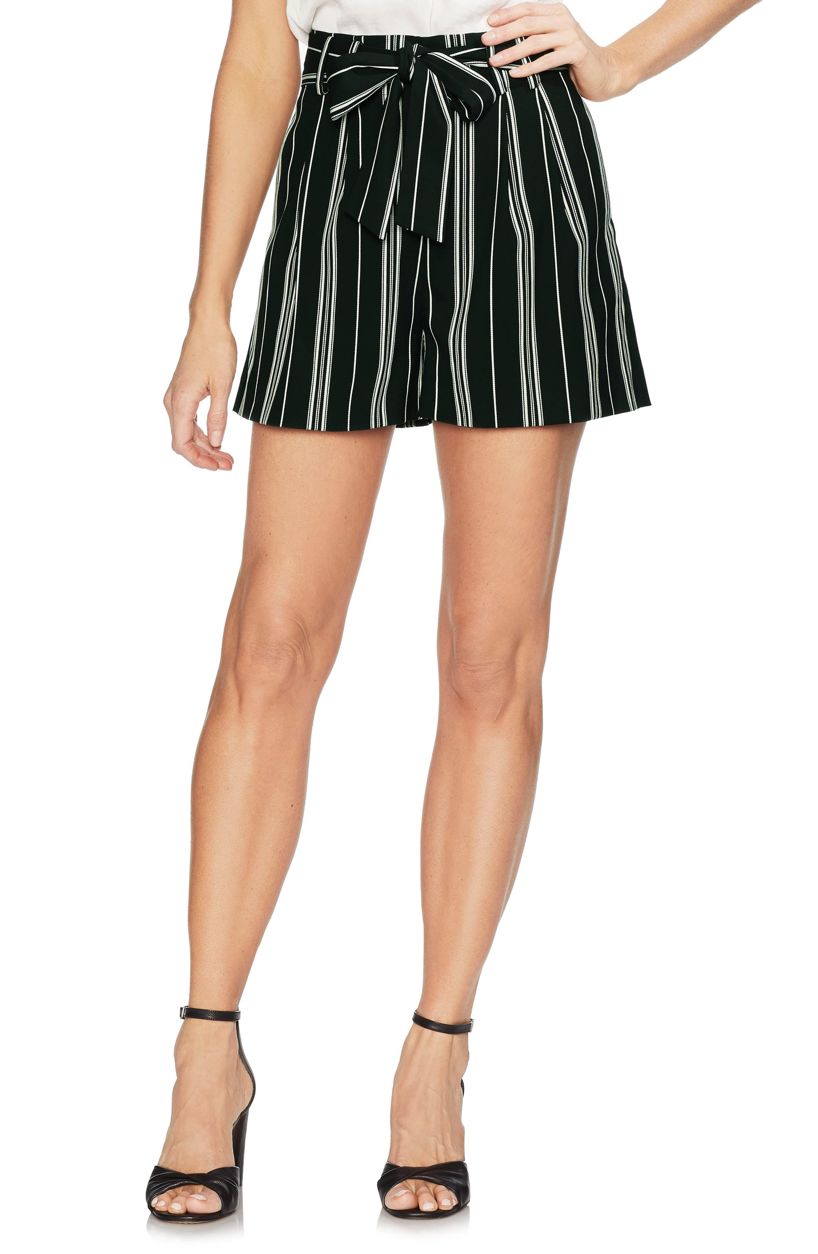 Image of Vince Camuto Striped Tie Waist Shorts