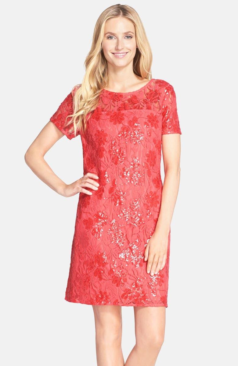 DONNA RICCO Sequin Lace Shift Dress, Main, color, 630