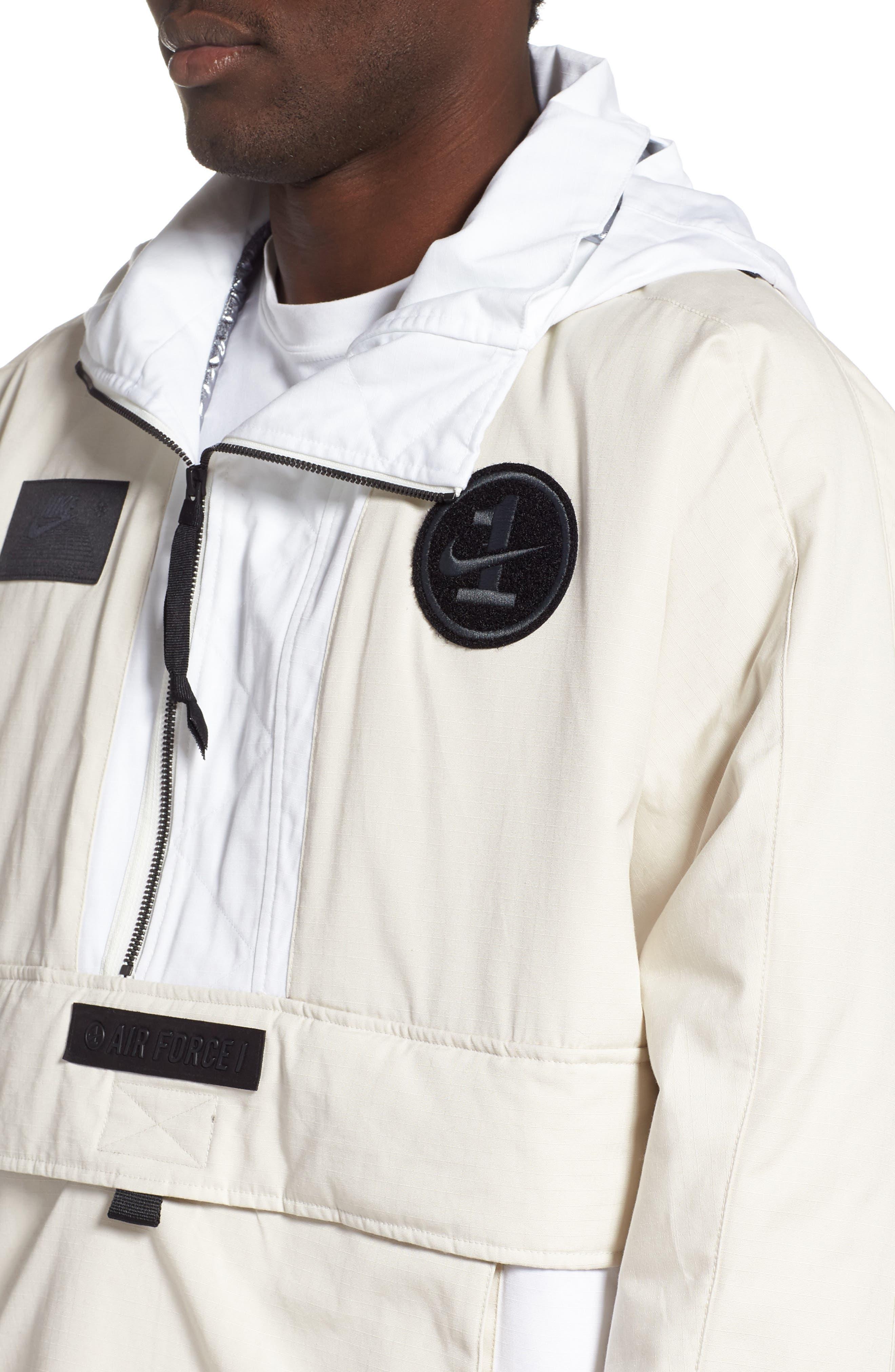 ,                             Sportswear AF1 Hooded Jacket,                             Alternate thumbnail 5, color,                             LT OREWOOD BRN/ BLACK